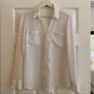 Express Portofino Blouse - White Stripe Medium